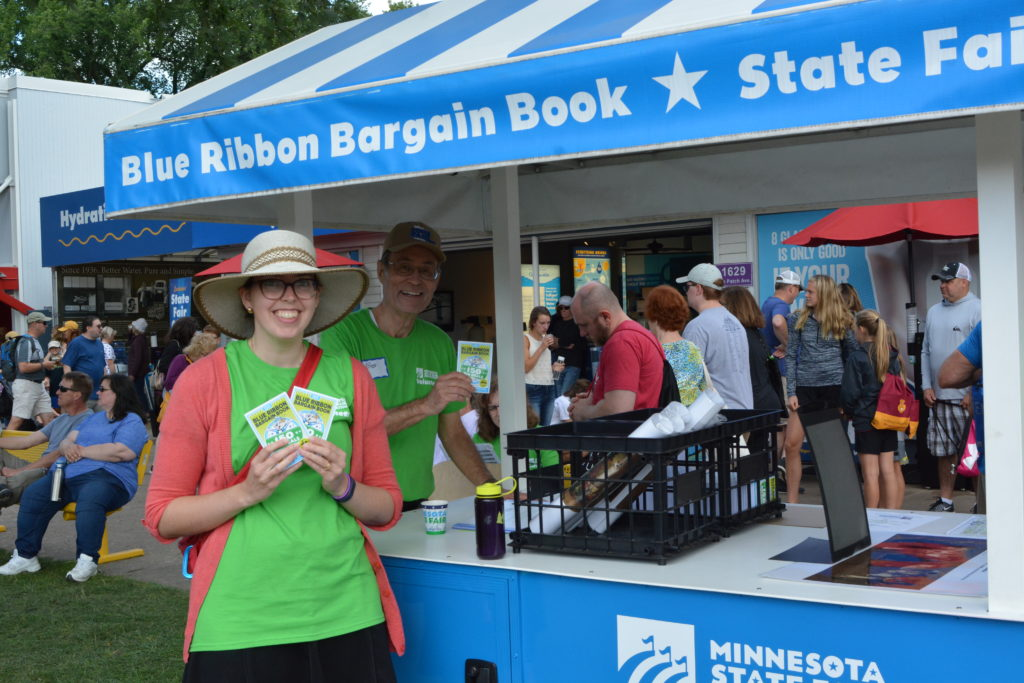 Volunteers selling Blue Ribbon Bargain Books